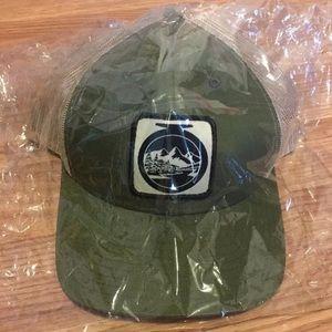 Army Green Trucker Hat SnapBack w/ Mountain Logo
